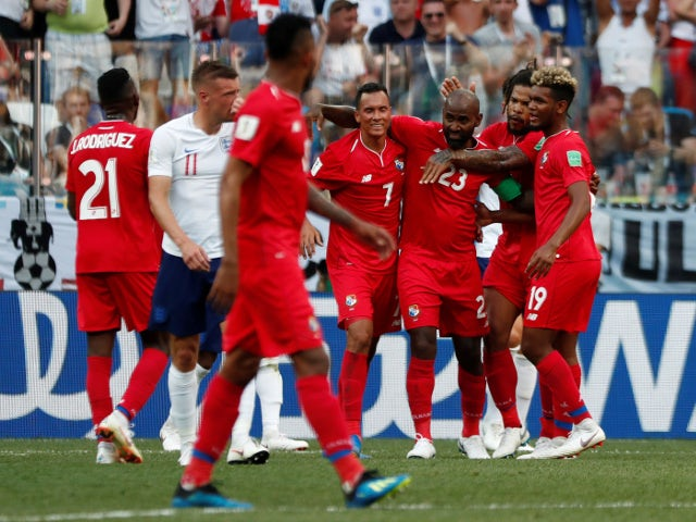 Panama's Felipe Baloy celebrates with teammates after scoring their first goal against England on June 24, 2018