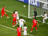England's Harry Kane scores their second goal in the game against Tunisia on June 18, 2018