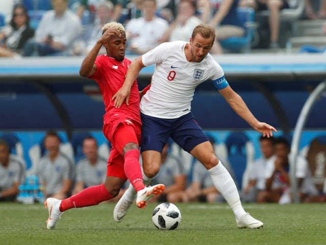 England's Harry Kane in action with Panama's Michael Amir Murillo on June 24, 2018