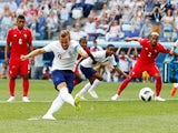 England's Harry Kane scores their second goal from the penalty spot in the match against Panama on June 24, 2018