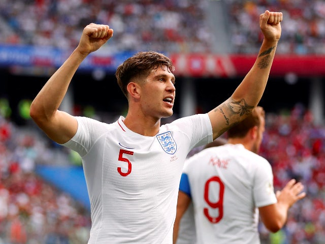 England's John Stones celebrates scoring their first goal in the match against Panama on June 24, 2018
