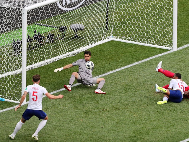 England's John Stones scores their fourth goal against Panama on June 24, 2018