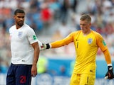 England's Jordan Pickford and Ruben Loftus-Cheek during the match against Panama on June 24, 2018
