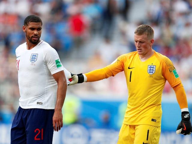 England's Jordan Pickford and Ruben Loftus-Cheek during the match against Panama on June 24, 2018