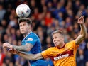 Rangers' Josh Windass in action with Motherwell's Andy Rose on October 22, 2017