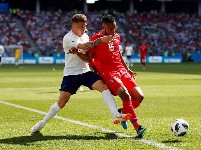 England's Kieran Trippier in action with Panama's Erick Davis on June 24, 2018