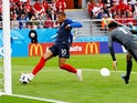Kylian Mbappe scores the opener during the World Cup group game between France and Peru on June 21, 2018