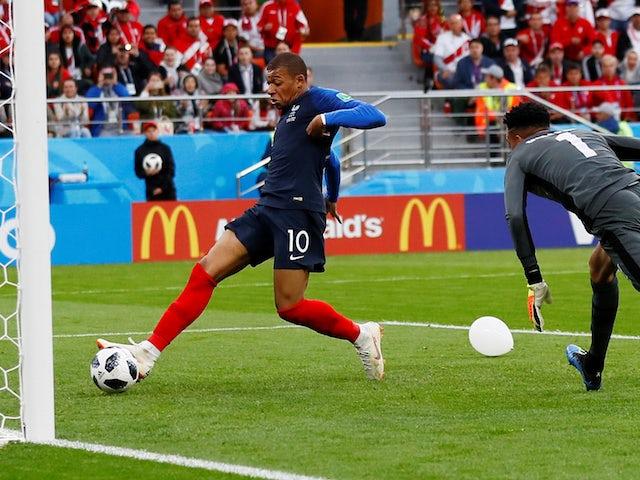 Image result for kylian Mbappe scores France Peru