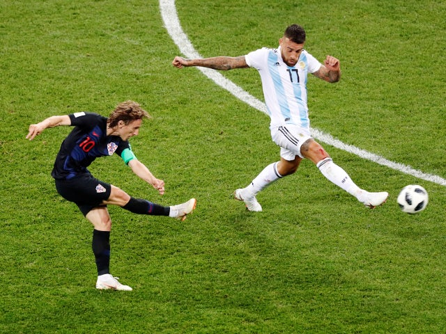 Croatia's Luka Modric scores their second goal in the match against Argentina on June 21, 2018
