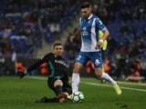 Espanyol's Marc Navarro in action with Real Madrid's Mateo Kovacic on February 27, 2018