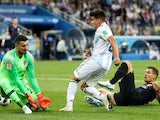 Argentina's Marcos Acuna in action with Croatia's Danijel Subasic and Dejan Lovren on June 21, 2018