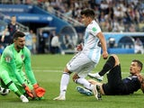 Argentina's Marcos Acuna in action with Croatia's Danijel Subasic and Dejan Lovren on June 21, 2018