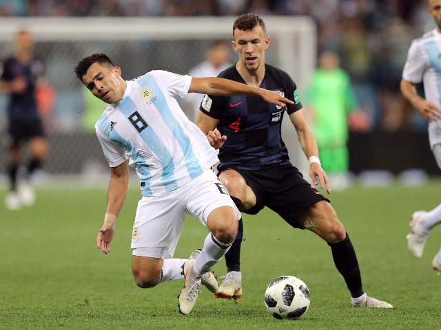 Argentina's Marcos Acuna in action with Croatia's Ivan Perisic on June 21, 2018
