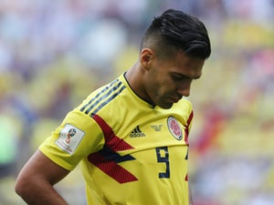 Colombia's Radamel Falcao reacts during the match against Japan on June 19, 2018