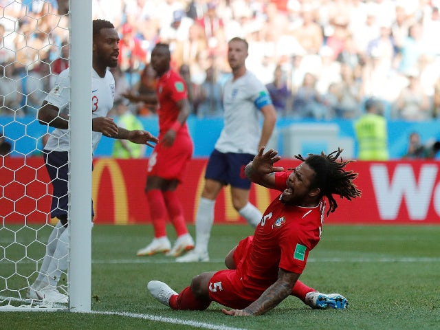 Panama's Roman Torres reacts after missing a chance to score against England on June 24, 2018