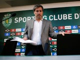 Sporting Lisbon president Bruno de Carvalho arrives at a news conference on June 11, 2018