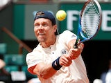 Czech Republic's Tomas Berdych in action during his French Open first-round match against France's Jeremy Chardy on  May 30, 2018