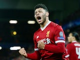 Liverpool's Alex Oxlade-Chamberlain celebrates scoring their second goal against Manchester City on April 4, 2018