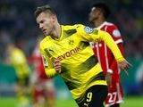 Borussia Dortmund's Andriy Yarmolenko celebrates scoring their first goal against Bayern Munich on December 20, 2017