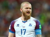 Iceland's Aron Gunnarsson reacts during the game against Croatia on June 26, 2018