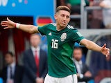 Mexico's Hector Herrera reacts during the match against Germany on June 17, 2018