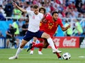 England's Jamie Vardy in action with Belgium's Mousa Dembele on June 28, 2018