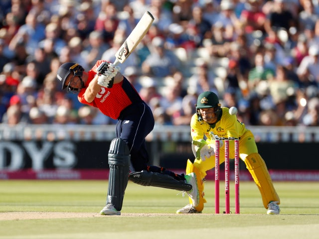 England's Jos Buttler hits a four during the T20 against Australia on June 27, 2018