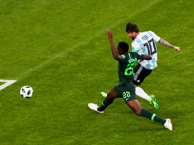 Argentina's Lionel Messi scores their first goal against Nigeria on June 26, 2018