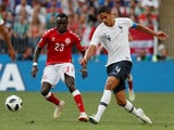 France's Raphael Varane in action with Denmark's Pione Sisto on June 26, 2018