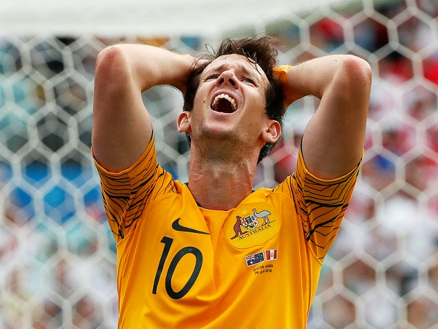 Australia's Robbie Kruse reacts in the match against Peru on June 26, 2018