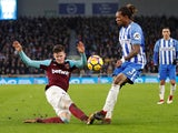 West Ham United's Sam Byram in action with Brighton's & Hove Albion's Gaetan Bong on February 3, 2018