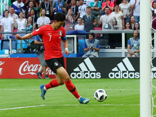 South Korea's Son Heung-min scores their second goal in the game against Germany on June 27, 2018