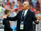 Russia coach Stanislav Cherchesov reacts during the match against Spain on July 1, 2018