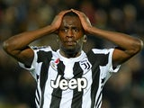 Juventus's Blaise Matuidi reacts after conceding their first goal scored by Crotone's Simy on April 18, 2018