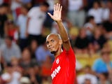 Monaco's Fabinho celebrates scoring their sixth goal from the penalty  in the match against Marseille on August 27, 2017