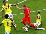 England's Harry Kane is fouled by Colombia's Jefferson Lerma on July 3, 2018