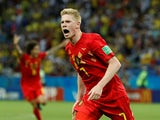 Kevin De Bruyne celebrates scoring the second during the World Cup quarter-final game between Brazil and Belgium on July 6, 2018