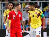Colombia's Radamel Falcao shouts at England's Kieran Trippier on July 3, 2018