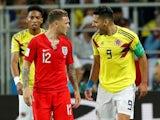 Colombia's Radamel Falcao shouts at England's Kieran Trippier on July 3, 2018