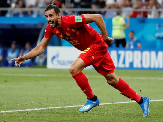 Belgium midfielder Nacer Chadli wheels away in celebration following his last-minute winner against Japan in the last 16 of the 2018 World Cup