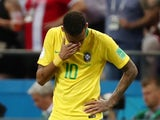 An upset Neymar during the World Cup quarter-final game between Brazil and Belgium on July 6, 2018