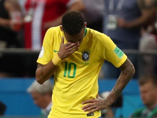 An upset Neymar during the World Cup quarter-final game between Brazil and Belgium on July 6, 2018
