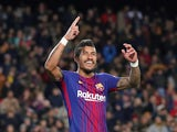 Barcelona's Paulinho celebrates scoring during a La Liga clash with Deportivo La Coruna in December 2017