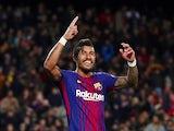 Barcelona's Paulinho celebrates scoring during a La Liga clash with Deportivo La Coruna in December 2017