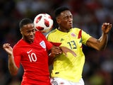 England's Raheem Sterling in action with Colombia's Yerry Mina on July 3, 2018