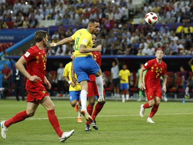 Renato Augusto pulls one back during the World Cup quarter-final game between Brazil and Belgium on July 6, 2018