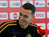 Belgium defender Thomas Vermaelen speaking at a press conference prior to his side's World Cup semi-final with France
