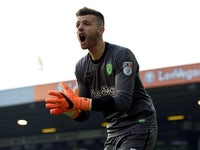 Norwich City's on-loan goalkeeper Angus Gunn in action in April 218