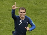 Antoine Griezmann celebrates putting his side back ahead from the spot during the World Cup final between France and Croatia on July 15, 2018