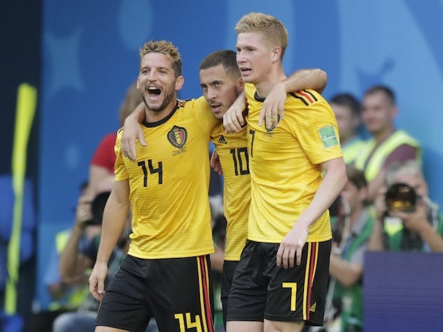 Eden Hazard celebrates sealing the win during the World Cup third-place playoff between Belgium and England on July 14, 2018